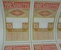 Rare Uncut German Cigar Tax Revenue Stamp Sheet Embossed Eagle WW2 Nazi Era
