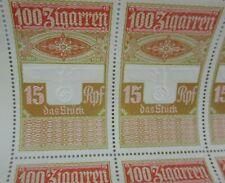 Rare Uncut German Cigar Tax Revenue Stamp Sheet Embossed Eagle WW2 Nazi Era