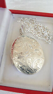 Vintage St Silver 925 Large Etched Victorian Style Photo Locket Pendant 25gms