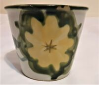 "Louisville Stoneware Pottery Yellow Floral Planter/Vase Made in KY 4"" Tall"