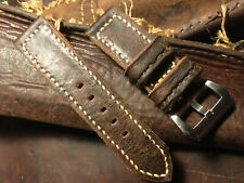 Handmade 26mm Vintage Swiss leather Ammo watch strap. Pam Tubes