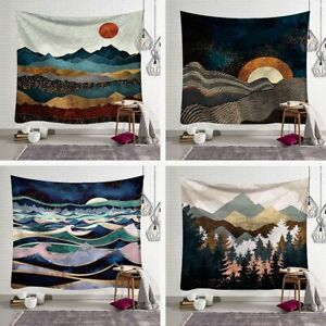 Abstract Scenery Mountain Sun Forest Home Cafe Decor Wall Art Hanging Tapestry