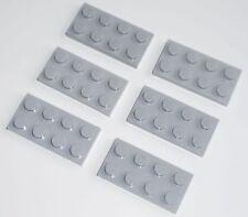 JEU JOUET ENFANT Personnage LEGO * Lot 6 BRIQUES PLATES 2 X 4 - GRIS CLAIR  *