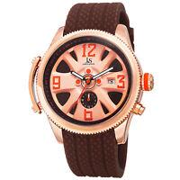 Men's Joshua & Sons JX101BR Two Time Zone Date Polyurethane Strap Quartz Watch