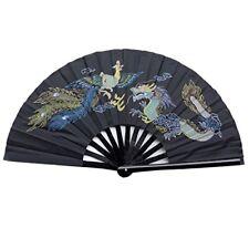 Chinese Tai Chi Martial Art Kung Fu Bamboo Dragon and Phoenix Fan Black