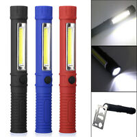 LED COB Pocket Pen Inspection Work Light Magnetic Flashlight Torch with Clip FA