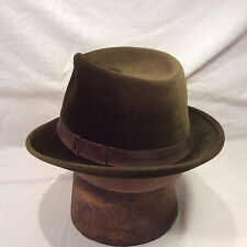 Green Brown Borsalino Fedora Men's Hat Vintage Velour with Brown Band -- Size 7