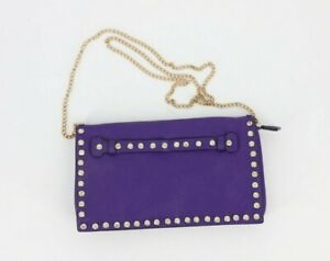 Charming Charlie Womens Purple Clutch with Chain Strap Purse Bling Studs