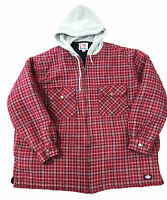 Dickie's Men's Shirt Plaid Cotton Flannel Medium Quilted Hoodie Zip Jacket 3 XL
