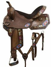 "16"" Economy barrel style saddle set with painted arrow design"