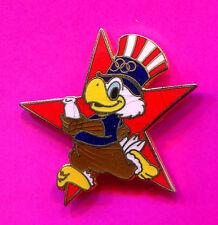 1984 LA OLYMPIC RELAY PIN SAM THE EAGLE MASCOT RED STAR  PIN