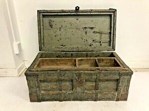 Vintage WOOD CARPENTER CHEST w Tray wooden storage tool box trunk antique decor