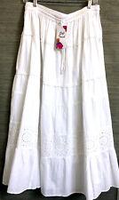 Ethnic Peasant White Cotton Modest Midi Skirt Elastic Waist  6 Tier Lace Trim  L
