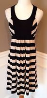 Ella Moss M Black/Beige Striped Sleeveless A-Line Dress W/ Black Crochet Panel
