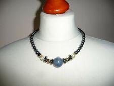 Designer Collier ~ Kette Halskette ~ schwarz Hämatit Perlenkette - Kugel blau