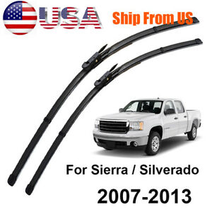 Front Windshield Wiper Blades Set For Chevrolet Silverado 1500 GMC Sierra 07-13