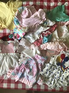Girl's Vintage Lot Dresses Rompers 70s 80s Pinafore Appliqué Lace 12 Mo Pastel