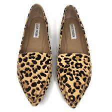 🔴 Steve Madden Size 9 M Feather Calf Hair Cheetah Print Flat Loafer Shoes Women