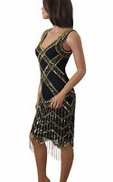 1920's Gatsby Flapper Golden Fringe Deco Hem Embellished Dress Women Plus Size