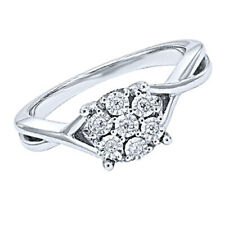 Ring in .925 Solid Sterling Silver New 1/10 ct Natural Diamond Twist Engagement