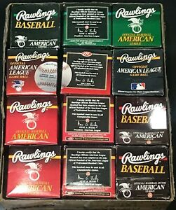 VINTAGE RAWLINGS AMERICAN LEAGUE 1990's ORIGINAL AL BASEBALL BOX LOT (12) BOXES
