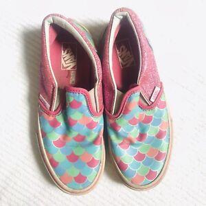 Vans Kids Size 3 Pink Slip On Sneakers Low Cut Mermaid Scales Glittery Shoes