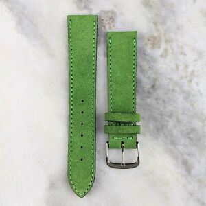 Suede Leather Watch Strap - Lime Green - 18mm/20mm