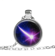 Purple Shooting Star, Science Necklace Tibet silver pendant chain Necklace