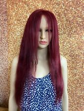 18 INCH HUMAN HAIR LACE FRONT CLOSURE WIG BRAZILIAN STRAIGHT BURGUNDY USED