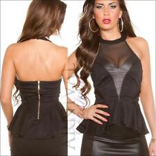 NEW SEXY LADIES FASHION HALTER TOPS peplum blouse sz S M L PARTY WEAR girls lady