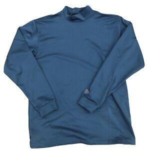 Nike Tiger Woods Golf Dri-Fit Mock Neck Long Sleeve Shirt Blue Men's L Large
