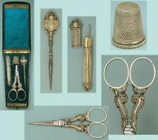 Antique Ebony Cased Gilded Silver Sewing Set / Etui * French * Circa 1840