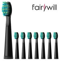 Fairywill 8Pcs BK Soft Replacement Heads for Electric Toothbrush FW-507 508 917