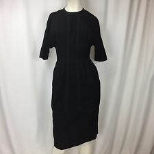 Vintage MISS BONWIT TELLER Black Short Sleeve Structured Dress Pockets Sz S/M