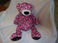 "GANZ  14"" plush  pink be happy peace black bear teddy lovey soft cubby sparkle"