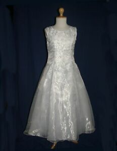 Slim Girl A Line Organza Satin White Girls First Holy Communion  Dress 4-9 Years