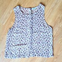 New look Sleeveless Clear Gauzy Blouse / Top Floral Size M Back Button Closure