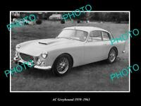 OLD POSTCARD SIZE PHOTO OF 1959 AC GREYHOUND CAR LAUNCH PRESS PHOTO