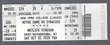 2016 NCAA SYRACUSE VS NOTRE DAME FIGHTING IRISH FOOTBALL FULL UNUSED TICKET @ NY
