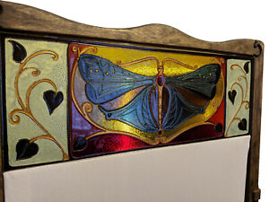 """A&O Art Nouveau Room Divider Folding Screen stained glass """"butterfly"""""""