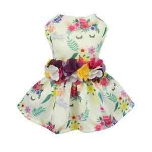 Fitwarm Floral Unicorn Dog Dress Pet Clothes Mesh Shirt Summer Apparel Princess