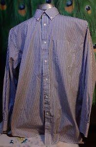 Kenneth Roberts Platinum Men's 17 1/2-(34/35) Dress Shirt, Blue/White. A-4