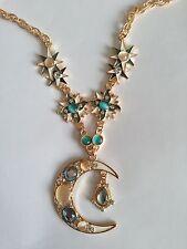 Modern *Metall*Anhänger*Mond* mit Kette*vergoldet*80cm lang* Gold Türkis Weiss