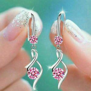 Fashion Women Jewelry 925 Silver Sapphire Wedding Bridal Drop Dangle Earrings