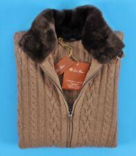 f9484619d79d  3650 NWT - LORO PIANA 100% CASHMERE   CASTORINO FUR Bomber Sweater Jacket  50 M