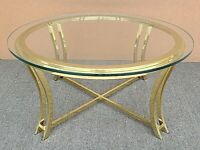 Mid Century Modern Sculptural Brass and Glass Coffee Cocktail Center Table