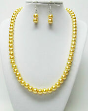 """Yellow Glass Pearl Necklace & Earrings Set (19.5"""", Silver Plated)"""