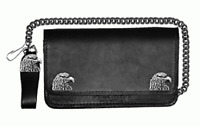 6 INCH EAGLE BI-FOLD LEATHER WALLET WITH CHAIN
