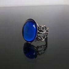Azul Zafiro Anillo Gótico Filigrana Victoriano Steampunk Gótico Ajustable Bella