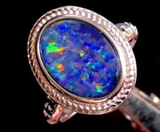 THE LADY 4c Natural Solid Australian Opal ladies Ring Black Blue Fire 6 M